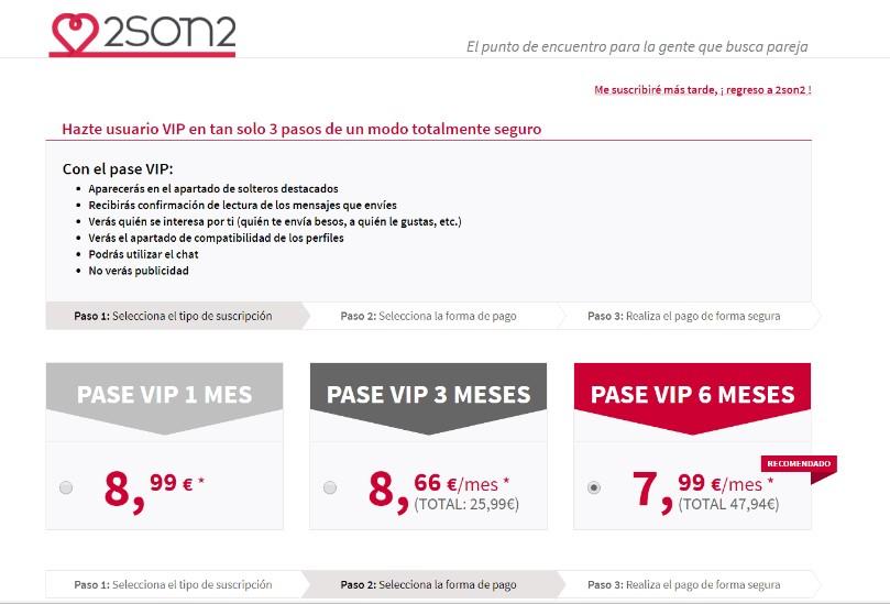 precios y pases en la web de contactos 2son2